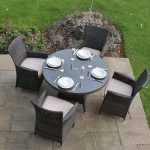 4 Seat Rattan Garden Furniture Dining Set – Brown or Black