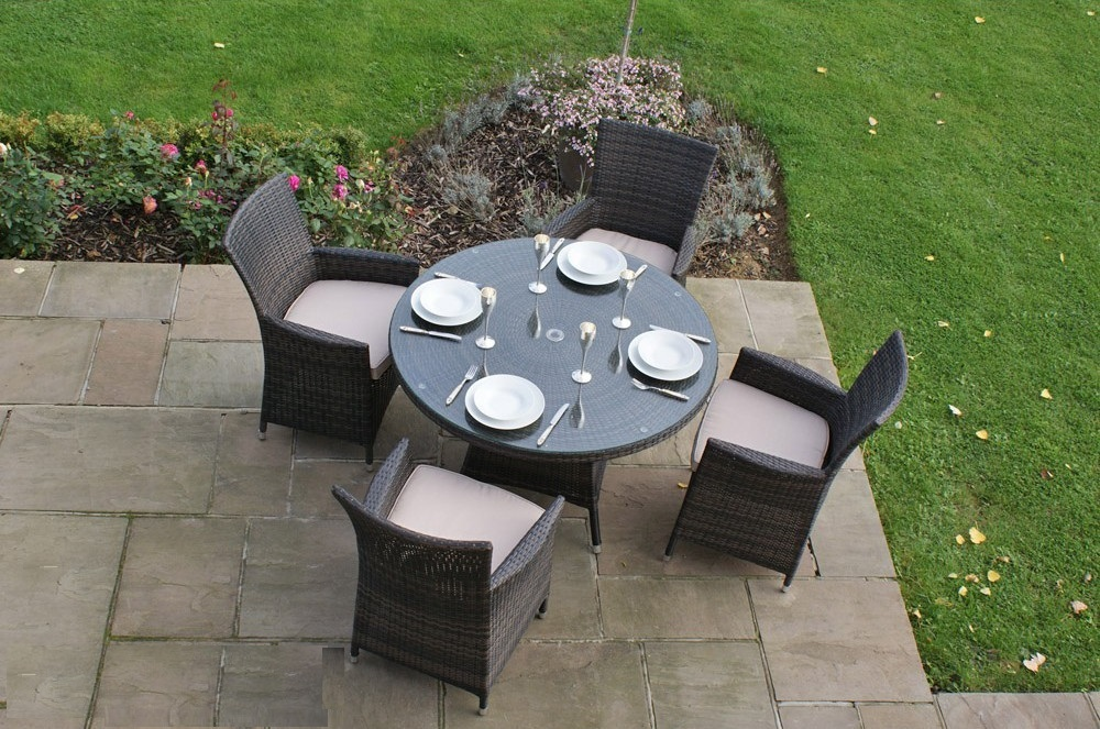 Rattan Garden Furniture 4 Seater 4 seat rattan garden furniture dining set - brown or black