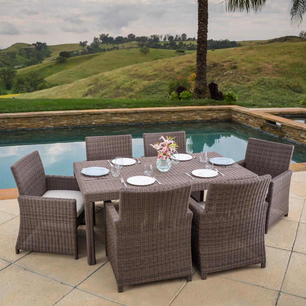 Brown Wicker Sunbrella Dining Set