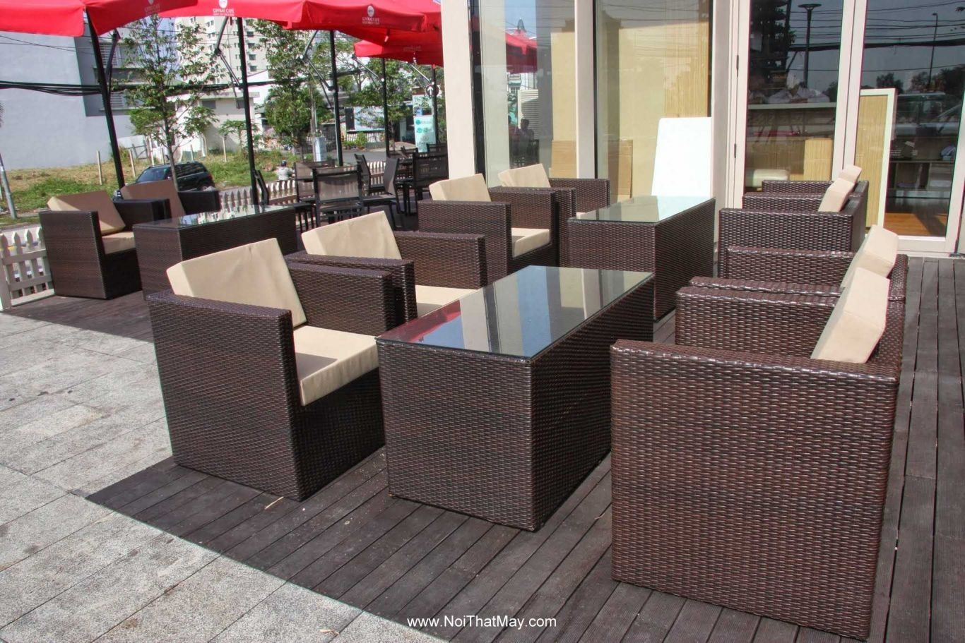 Outdoor wicker sofa set