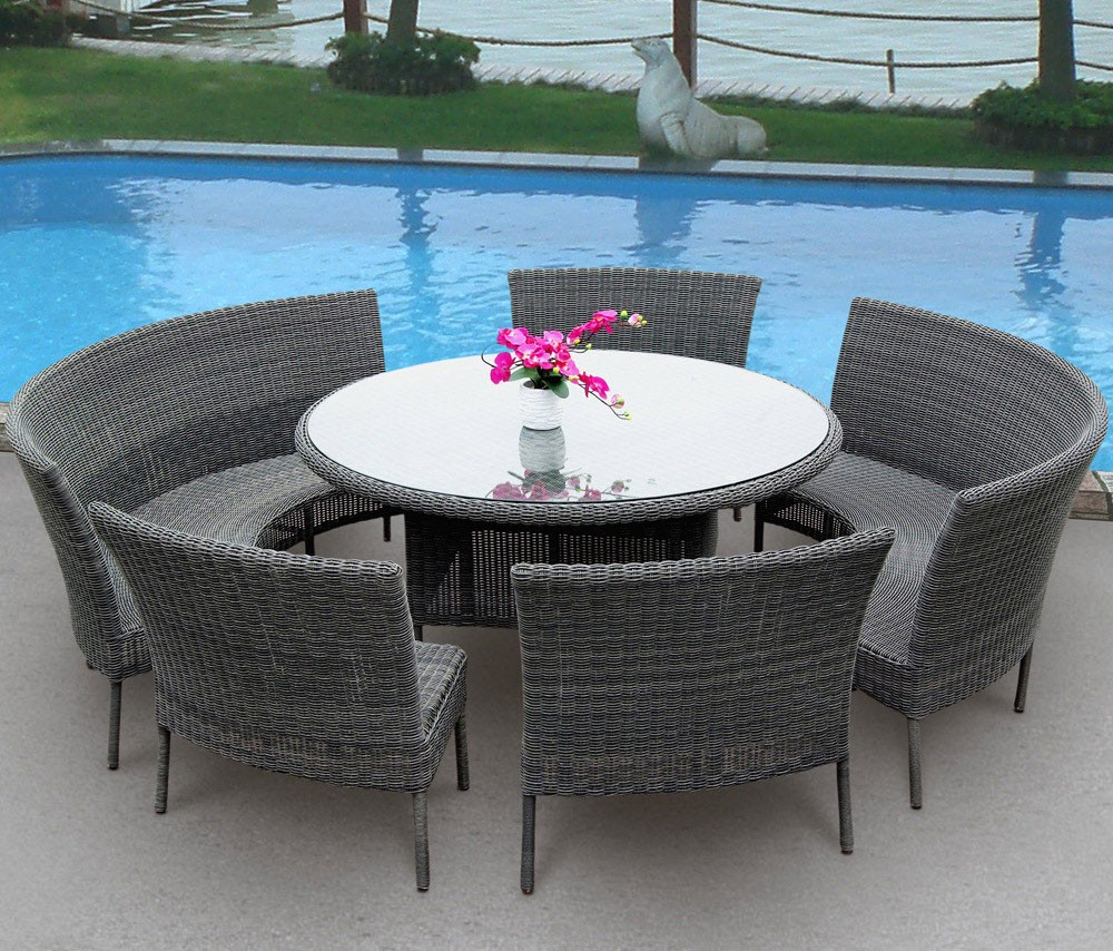 Resistant rattan effect outdoor patio dining set with round table - Wicker And Rattan Outdoor Furniture Rattan Garden Furniture Sets Outdoor Dining Set