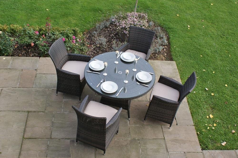 4 Seat Rattan Garden Furniture Dining Set – Brown or Black
