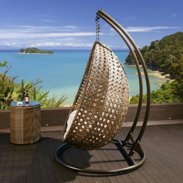 Outdoor 2 Person Garden Hanging Chair Brown Rattan (1)