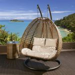 Outdoor 2 Person Garden Hanging Chair Brown Rattan