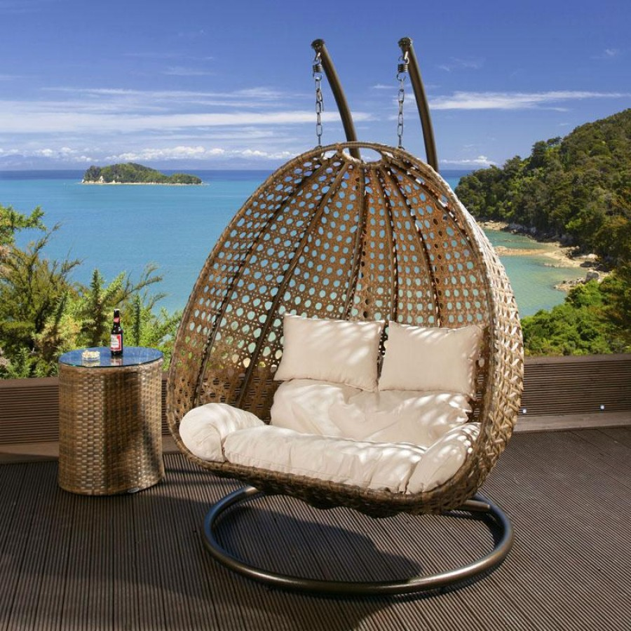 Outdoor 2 Person Garden Hanging Chair Brown Rattan And