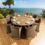 Rattan Garden | Outdoor Dining Set Round Table + 8 Chairs