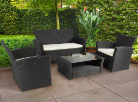 Outdoor Patio Garden Furniture Wicker Rattan Sofa Set Black