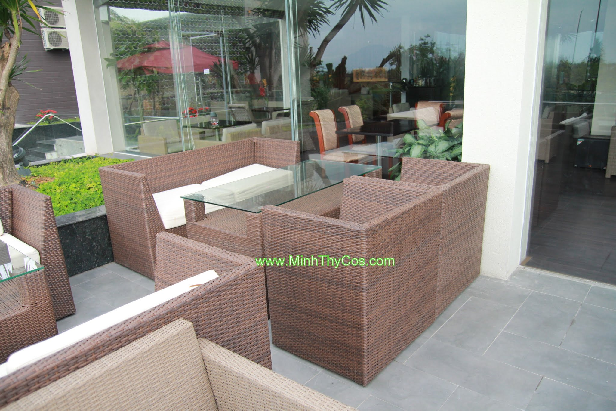 Outdoor wicker sofa set cafe SunOcean Da Nang