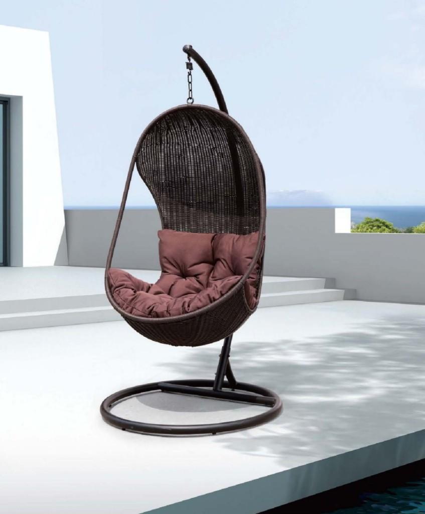black rattan wicker swing chair