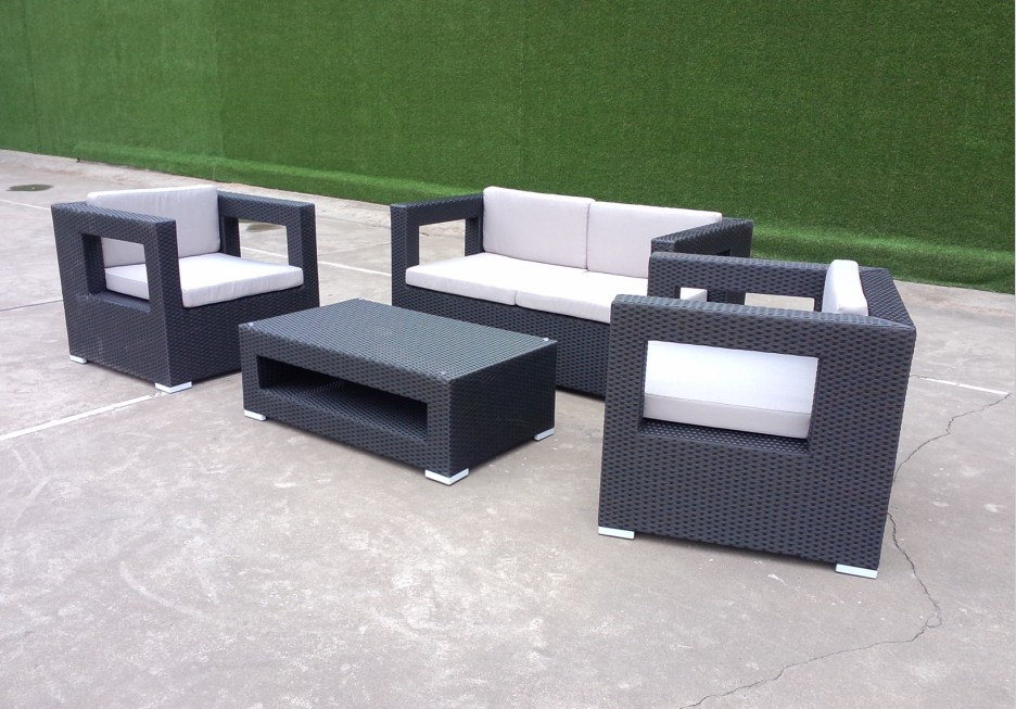 black wicker sofa set
