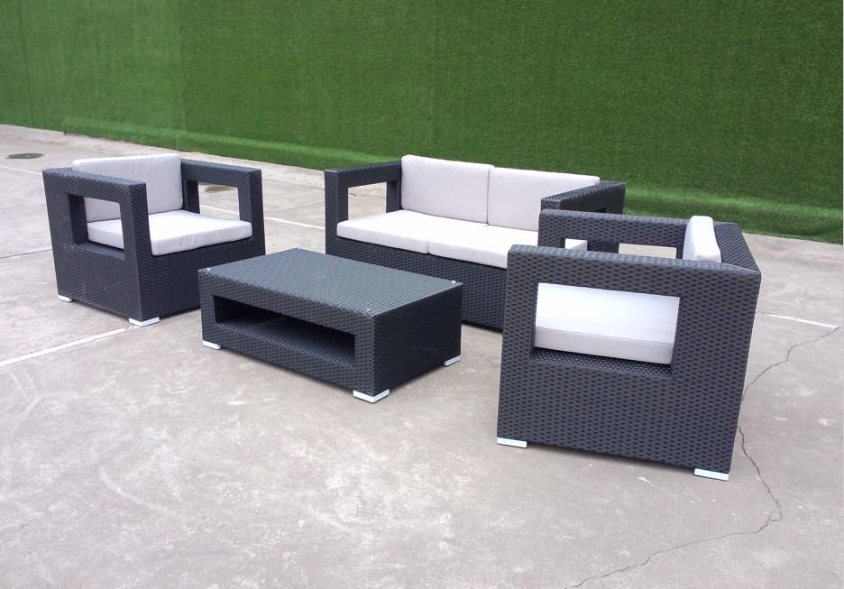 black wicker sofa set