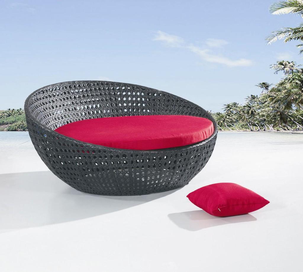 rattan wicker garden sun lounger