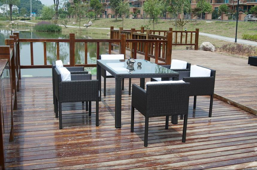 wicker outdoor table and chairs rattan glass dining table