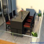 Outdoor Patio Wicker Furniture Bar Table Dining set 6 Bar Stools